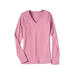 Lands' End - Pink women's petite long sleeve v-neck t-shirt