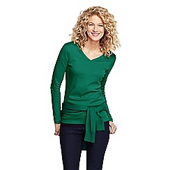 Lands' End - Green women's petite long sleeve v-neck t-shirt