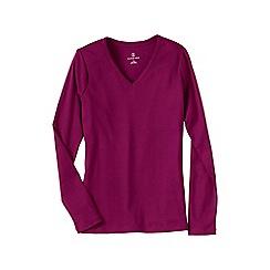 Lands' End - Pink women's petite long sleeve v-neck t-shirt