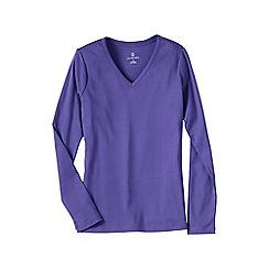 Lands' End - Purple petite long sleeve v-neck t-shirt