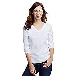 Lands' End - White women's petite long sleeve v-neck t-shirt