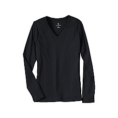 Lands' End - Black women's plus long sleeve v-neck t-shirt