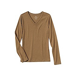 Lands' End - Beige women's plus long sleeve v-neck t-shirt