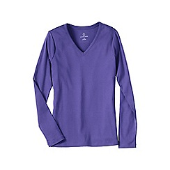 Lands' End - Purple women's plus long sleeve v-neck t-shirt