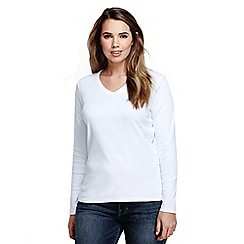 Lands' End - White women's plus long sleeve v-neck t-shirt