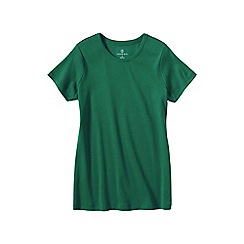 Lands' End - Green women's regular short sleeve cling free rib tee