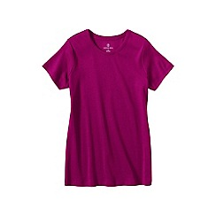 Lands' End - Pink women's regular short sleeve cling free rib tee