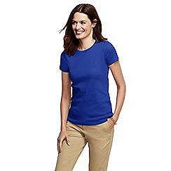 Lands' End - Blue women's regular short sleeve cling free rib tee
