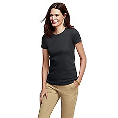 Lands' End - Black women's petite short sleeve ribbed crew neck t-shirt petite