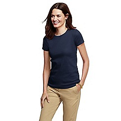 Lands' End - Blue petite short sleeve ribbed crew neck t-shirt