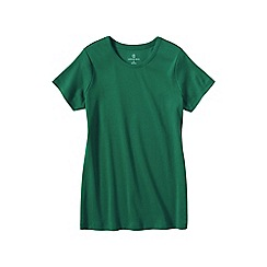 Lands' End - Green women's petite short sleeve ribbed crew neck t-shirt