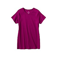 Lands' End - Pink women's petite short sleeve ribbed crew neck t-shirt