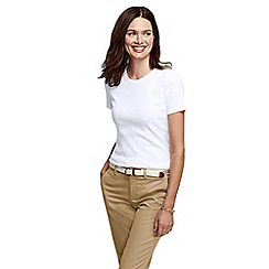 Lands' End - White women's petite short sleeve ribbed crew neck t-shirt petite