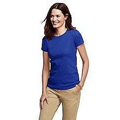 Lands' End - Blue women's petite short sleeve ribbed crew neck t-shirt petite