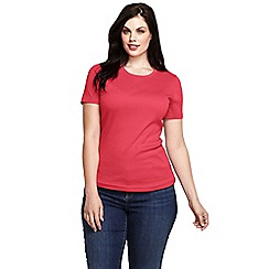 Lands' End - Red women's short sleeve ribbed crew neck t-shirt