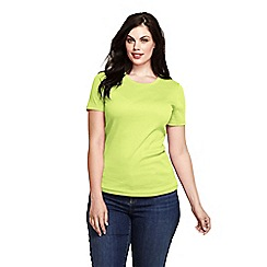 Lands' End - Yellow women's short sleeve ribbed crew neck t-shirt