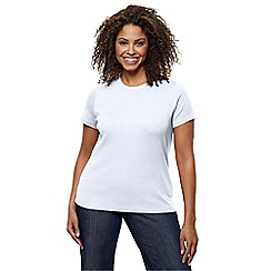 Lands' End - White women's short sleeve ribbed crew neck t-shirt