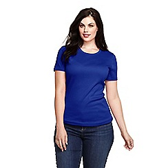 Lands' End - Blue women's short sleeve ribbed crew neck t-shirt