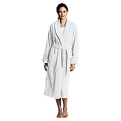 Lands' End - Petite white women's luxury terry robe