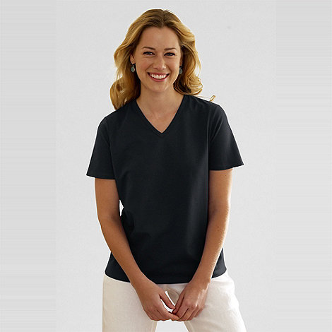 Lands+ End - Black women+s relaxed short sleeve v-neck t-shirt