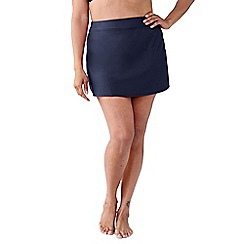 Lands' End - Blue women's plus size beach living tummy control swimmini