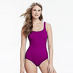 Lands' End - Purple tug less swimsuit with soft cup bra