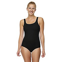 Lands' End - Black tugless swimsuit with shelf bra