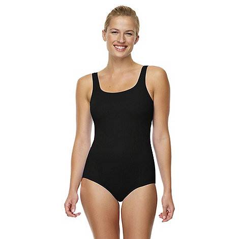 Lands+ End - Black tugless swimsuit with shelf bra