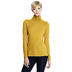 Lands' End - Yellow women's regular fitted cotton/modal roll neck