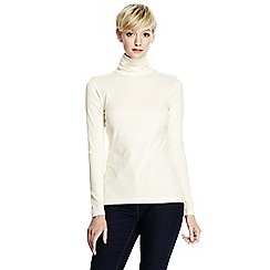Lands' End - Cream women's regular fitted cotton/modal roll neck