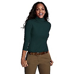 Lands' End - Green women's regular fitted cotton/modal roll neck