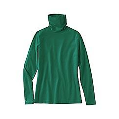 Lands' End - Green women's regular fitted cotton/modal roll neck