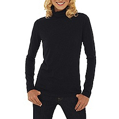 Lands' End - Black petite cotton modal roll neck