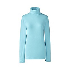 Lands' End - Blue petite fitted cotton/modal roll neck