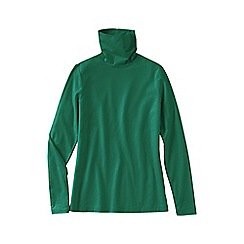 Lands' End - Green women's petite fitted cotton/modal roll neck