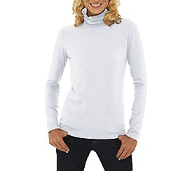 Lands' End - White petite cotton modal roll neck