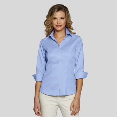 Blue Petite Flip Cuff No Iron Cotton Shirt