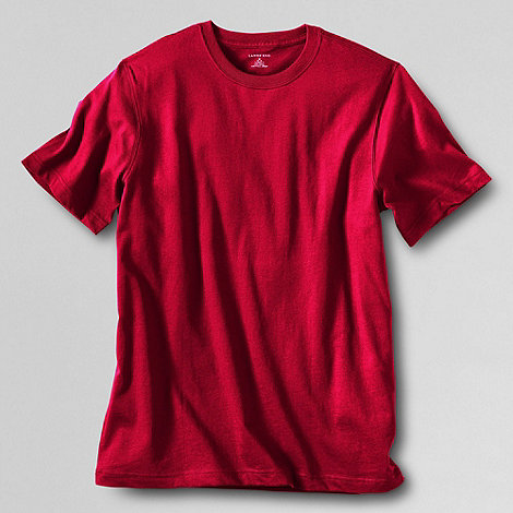 Lands+ End - Red men+s short sleeve tailored fit super-t