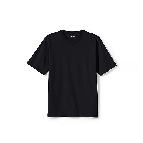 Lands+ End - Black men+s short sleeve tailored fit super-t