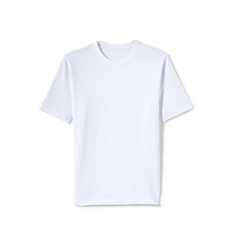 Lands+ End - White men+s short sleeve tailored fit super-t