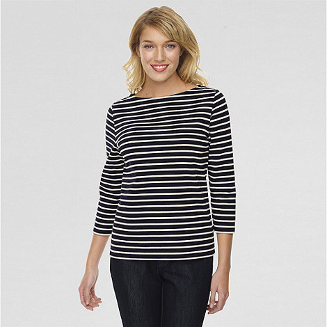 Lands' End - Blue three quarter sleeved boatneck sailor tee
