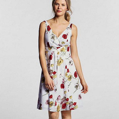 Lands+ End - Red Petite Floral Cotton Lawn Empire Dress