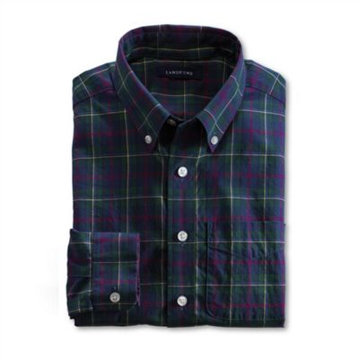 Green Boys Long Sleeve Pattern Poplin Shirt