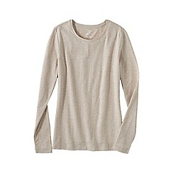 Lands' End - Beige women's regular long sleeve cotton/modal crew neck tee