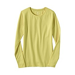 Lands' End - Yellow women's regular long sleeve cotton/modal crew neck tee