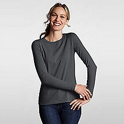 Lands' End - Grey women's regular long sleeve cotton/modal crew neck tee