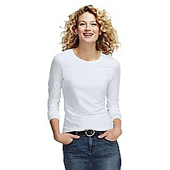 Lands' End - White women's regular long sleeve cotton/modal crew neck tee