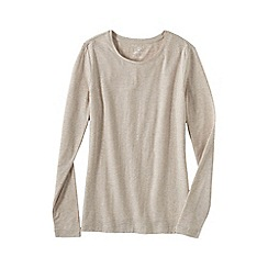 Lands' End - Beige women's petite long sleeve cotton/modal crew neck tee