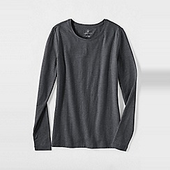 Lands' End - Grey women's petite long sleeve cotton/modal crew neck tee