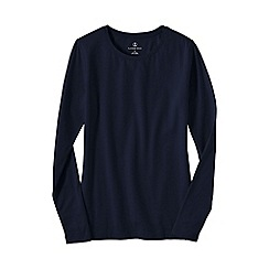 Lands' End - Blue women's petite long sleeve cotton/modal crew neck tee